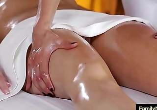 Lesbian stepmom daughter massage