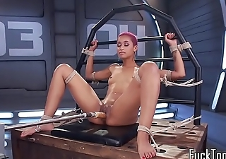 Solo redhead ebony pleased with machine