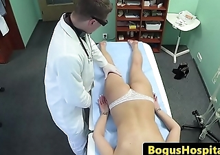 Doctor examines skinny euro amateurs body
