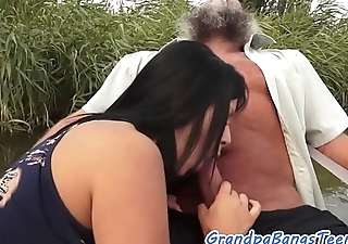 Teen babe banged and creamed by grandpa