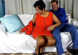 Beautiful busty black old spunker loves cum all over her nice big tits
