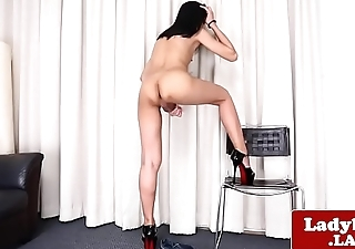 Smalltitted ladyboy pulling uncut cock solo
