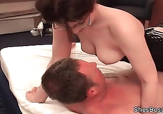 Lady Tiffany smothers slaves face with her hairy pussy