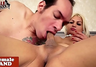 Busty transsexual fucks dude after blowjob