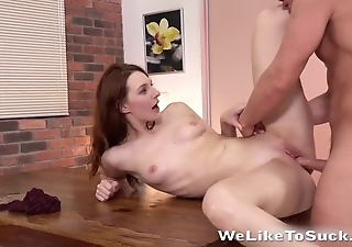 Brunette and redhead adore polishing hard penises