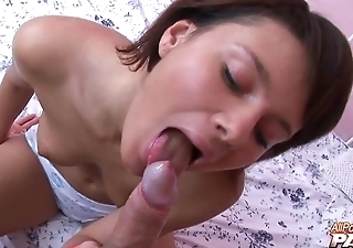 Slender young goddess blows immense penis in POV