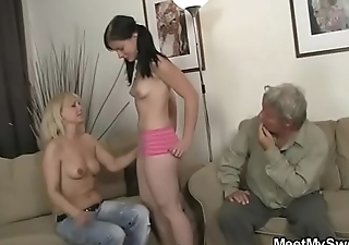 She rides old cock after oral prelude