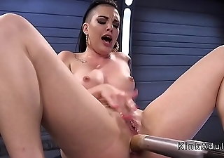 Fast fuckig machine breaks inked babe