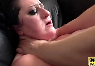 Bounce chubby Britt toyed while fucked by dom