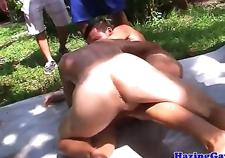Real elated fraternity assfucking outdoors